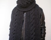 Extralong Cable   Rib Chunky  Scarf Hand Knit Men Scarf  Soft  mixed  Alpaca Unisex  Scarf NEW