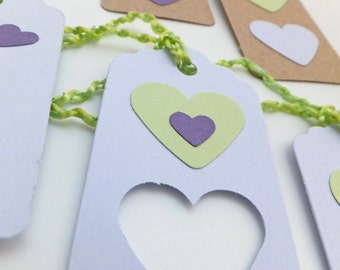 Lilac Gift tags, Heart gift tags, Gift labels, Hang Tags, Eco-friendly gift tags, Gift wrapping supplies, Weddings, Engagements