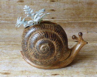 Mid Century Modern Snail Planter Large Figural  Planter
