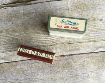 Vintage Mail Stamps Set of 2 - First Class Mail - Via Air Mail