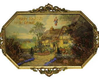 Antique God Bless Our Home Religious Cottage Collage Shadow Box Irish English