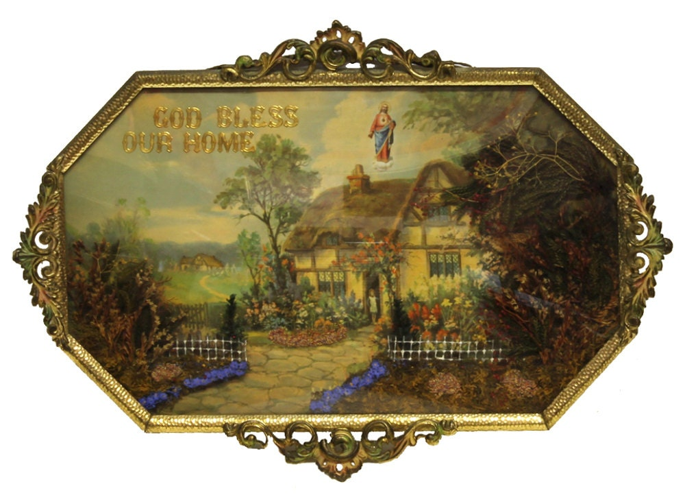 Antique God Bless Our Home Religious Cottage Collage Shadow
