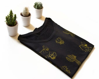 Cotton TEE printed with original hand-carved stamps with CACTI- size MEDIUM