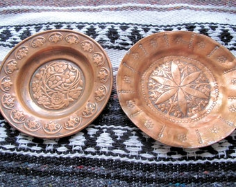 "Pair Copper Plates-Hand Hammered-Round- from Kashmir- 7""inches in diameter"
