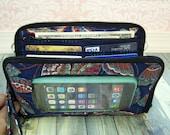 cell phone wristlet wallet, phone wallet, iphone 6s, organizer wallet, zip around wallet, Super Mega Touch Screen Wallet, blue, butterflies
