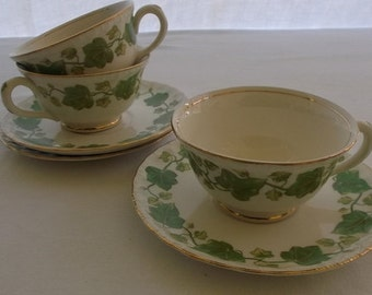 Vintage Cups and Saucers, Tea Cups, Pope Gosser American Ivy, Green Ivy with Gold Edge China, 3 Cups and Saucers