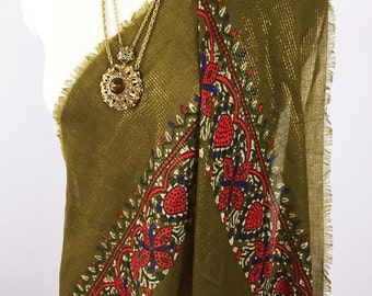 Superb 1970's Olive Green and Gold Indian Metallic Shawl , Vintage Wrap, Scarf, Large