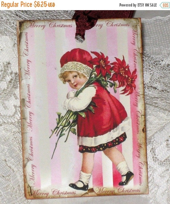 Christmas in July Christmas Gift Tag , Holiday Hang Tag, Noel Gift Tag, Christmas Child Red Tag
