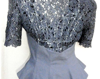 Unique Vintage Black Lace Top  / Steam Punk