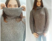 OVERSIZE TURTLENECK sweater / silver gray / RIBBED knit / vintage fall winter Large