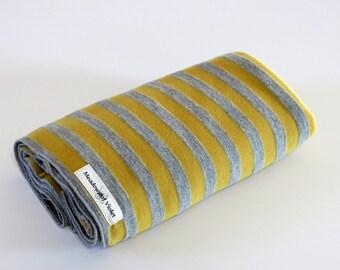 Large Cotton Jersey Knit Baby Swaddle/Receiving Blanket - Boy/Girl - Mustard Yellow/Heather Gray Stripe