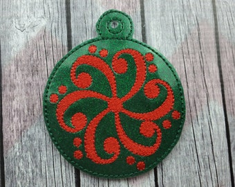 Music Inspired Embroidered Ornament, Bass Clef Star