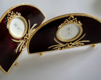 Set of Two Ornate Victorian or Edwardian Inspired Burgundy and Gold Photo Picture Frames by Ross Simons OCJ2