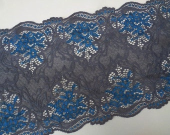 "7"" (17.8 cm) Wide Navy Blue Charcoal Gray Grey Stretch Victorian Inspired Raschel Lace Scalloped Edge for Lingerie Dancewear Decor FJT3 S127"
