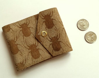 Lasered Suede Leather Beetle Flower Wallet