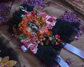 Artsy cuff romantic bohemian cuff gypsy fairy hand beaded hand embroidered wrist wrap adjustable cuff