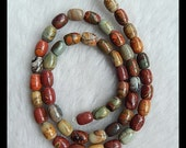 Multi-Color Picasso Jasper Loose Bead,1Strand,41cm In the Lenght,8x6mm,26.09g