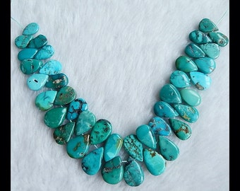 Turquoise Gemstone Loose Beads,1 Strand,15x10x4mm,12x8x4mm,43.5g