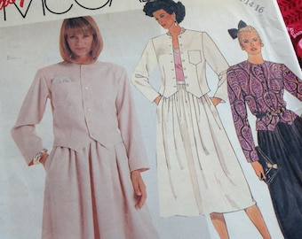 Vintage Mccalls Pattern 2823, 80's pattern, size 14 pattern, jacket pattern, skirt pattern