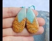 Picture Jasper,Amazonite Intarsia Gemstone Earring Bead,41x18x4mm,7.9g