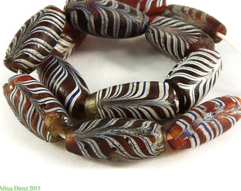 12 Feather Venetian Trade Beads Red Africa 96740