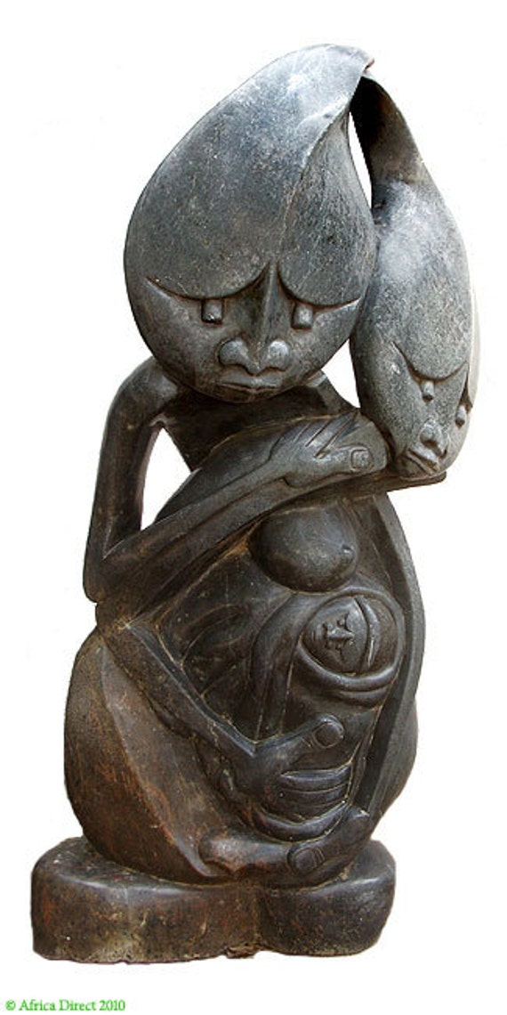 Shona stone sculpture family zimbabwe feet african art
