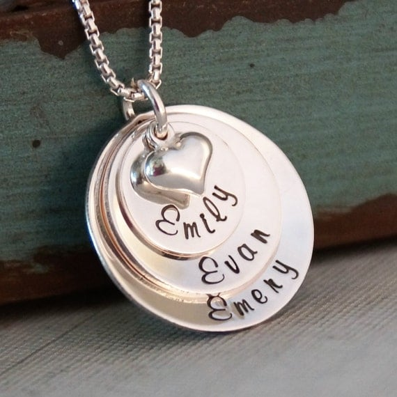 Personalized Jewelry / Hand Stamped Mommy Necklace / Layered Sterling Silver Necklace / Loved Domed Family Stack of Three