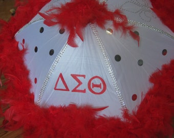 Sorority Second Line Umbrella- DST Delta Sigma Theta- Red White- New Orleans- Shade, Walk, Event- rhinestones, handpaint, boa, gems
