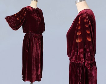 RESERVED -- Rare 1930s Dress / 30s TWO PIECE Blouse and Skirt Set! / Burgundy Silk Velvet / Burnout Sleeves / Painted Moons!