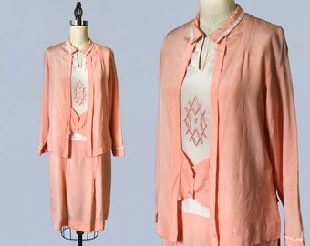 RESERVED 1920s Dress / 20s Pink Day Dress / Embroidered Deco Motif