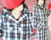 1950s Trench Coat - 50s Plaid Trench Raincoat - Spring & Fall
