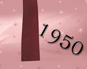 1950s Square Tie - Vintage Necktie in Brown Open Weave