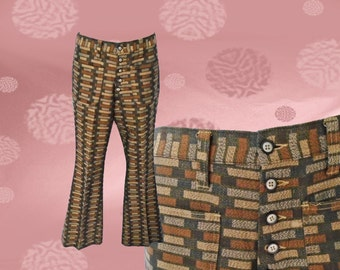 Mens Vintage Psychedelic Mod Bell Bottom Trousers - 1960s Bell Bottoms - Button Fly Hip Huggers for Men - Mens 60s Mod Pants - Mod Trousers