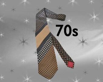 Vintage Wide Necktie - 70s Wide Tie from John Wanamaker - Shades of Brown