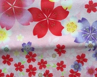 Special sale Japanese kimono cotton fabric sakura printed light pink colour