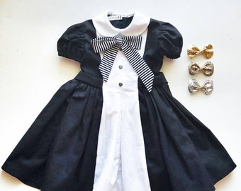 Black and White Tuxedo Dress by Papoose Clothing