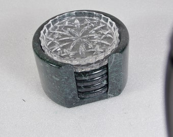 Vintage Glass and Dark Green Marble Glass Coaster Set