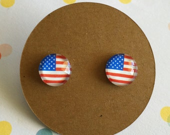 American Flag Earrings, 4th of July, Titanium Posts for sensitive ears