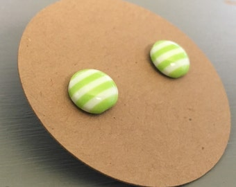 Titanium Earrings, small Lime Green and White Striped, hypoallergenic