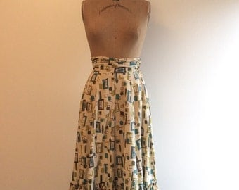 1940s 1950s Geometric Cotton Skirt 40s 50s Atomic Koret California Ruffle Hem Skirt