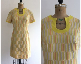 1960s Edith Flagg Mod Scooter Dress 60s Yellow Psychedelic Op Art