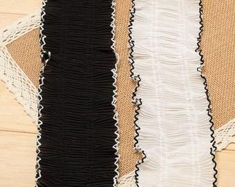 "10 yard 8cm 3.14"" wide black/ivory ruffled fabric tapes lace trim ribbon 120 free ship"