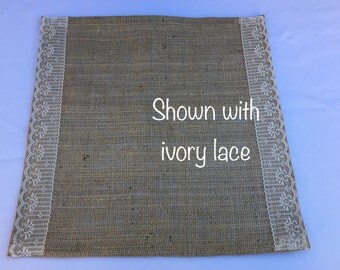 Burlap and Lace Table Square, Wedding, Party, Home Decor, Custom Sizes and Large Order Available