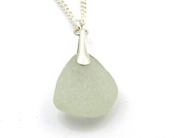 Seaspray Sea Glass Pendant Necklace Sterling Silver Bail ALINA