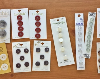 Carded Vintage Buttons, Vintage and Antique Sewing Buttons on 15 Cards