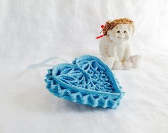 Blue Filigree Heart Ornament, Unique Handmade Ornament, Valentine Wedding Anniversary Gift for Her, Christmas Gift