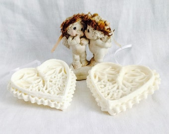 White Heart Sugar Ornaments, Non Edible Sugar Fun Royal Icing Decorative Hanging Ornaments ~ Keepsake Gifts, Set of 2