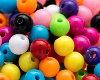 150 GUMBALL Beads 6mm Bubblegum Resin Round
