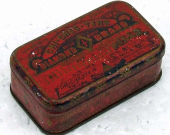 Antique Advertising Tin Chichesters Pills Vintage Apothecary Americana Advertising Tin Made in USA ACTTEAM