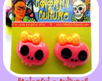 Resin Colorful Skull Cabochon Calaveras Earrings-Dia de los Muertos- Day of the Dead Skull- Post Earrings